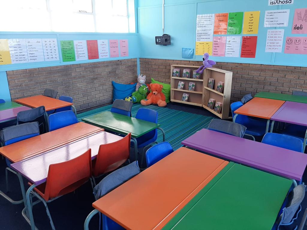 updated classroom with colourful desks